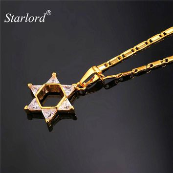 Star Of David Crystal Pendant Necklace in Gold or Silver