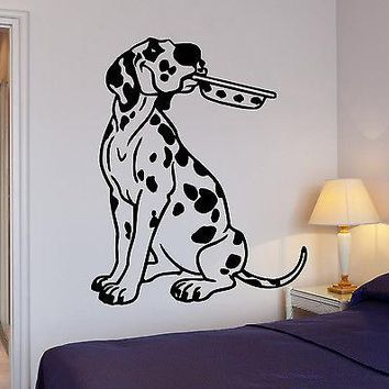 Wall Stickers Kitchen Dalmatian Puppy Dog Pet Bowl Vinyl Decal Unique Gift (ig1421)