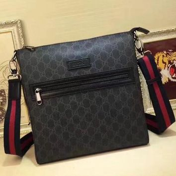 GUCCI Women Men Leather Office Bag Satchel Shoulder Bag Crossbody Wallet
