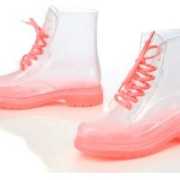 Jelly transparent lace up boots