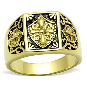 WildKlass Stainless Steel Cross Ring IP Gold Men Epoxy Jet