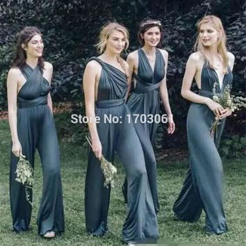Convertible 2017 Newest Ink Navy Blue Chiffon Jumpsuits Bridesmaid Dresses Fashion Clothes for Wedding Guest Long Maid of Honor