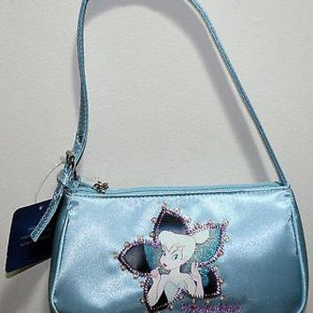 Licensed cool NEW Disney Tinker Bell Peter Pan Blue Satin Handbag Purse Bag Flower Faux Beads