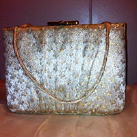 Vintage Gold and vanilla holiday clutch