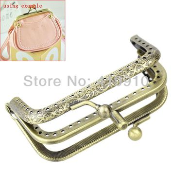 Free Shipping-2PC Metal Frame Kiss Clasp Lock Handle DIY Handmade Ball For Purse Bag Parts Accessories 8.5cm x 6cm J2579