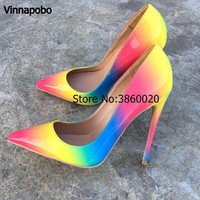 Colorful Rainbow Printed Pointed Toe Stiletto High Heels Woman Lady Female 12cm 10cm 8cm High Heel Shoes Pump Zapatos Mujer