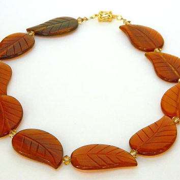 Orange Necklace, Leaf Beads, Carved Horn, Short Necklace, Swarovski Crystals, Handmade Necklace, Gold Clasp, Unique Necklace, Collar Style