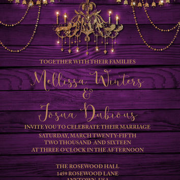 Purple and Gold Wedding Invitation,Bling wedding invitation,Chandelier invitation, Printable invitation Rustic French Wedding invite