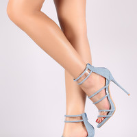 Ashley Lucite Heel - Denim