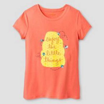 Girls' Enjoy The Little Things Short Sleeve Graphic Tee Cat & Jack™ - Hawaiian Coral XS : Target