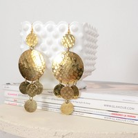 Gold Hammered Circle Dangle Earrings