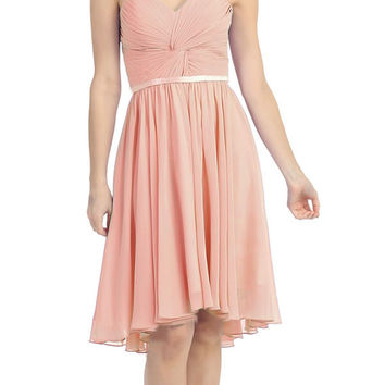 Ruched Bodice Knee Length A Line Dusty Pink Bridesmaid Dress