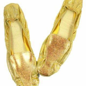 Vintage Shoes Fun Gold Metallic Flats Square Toe  Size 7-71/2 1950'S