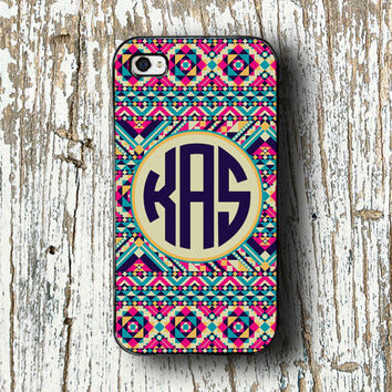 Tribal iPhone 5c case, iPhone 5, monogram iPhone 4/4s/5/5s/5c - Aztec print hot pink and aqua - monogrammed tribal iphone 4 case (1261)