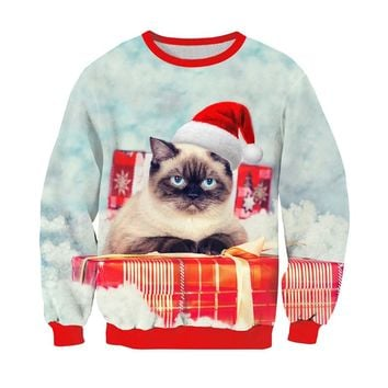 Cat Sweatshirt 3D Print Christmas Hoodie Cute Kitten/Sloth/Grumpy Cat With Christmas Hat Outerwear Funny Tops