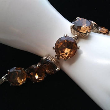 ON SALE Vintage Huge Brown Headlight Rhinestone Bracelet Chunky Wide 1950s 1960s Retro Rockabilly Vintage Jewelry Style Accessory Collectibl