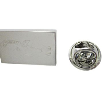 Silver Toned Etched Puffer Fish Lapel Pin