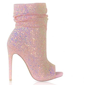 Pink Spotlight Open Toe Ankle Boot