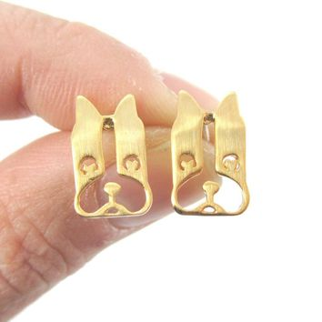French Bulldog Face Cut Out Shaped Stud Earrings in Gold | DOTOLY