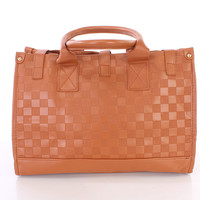 Camel Faux Leather Woven Texture Summer Beach Tote Bag