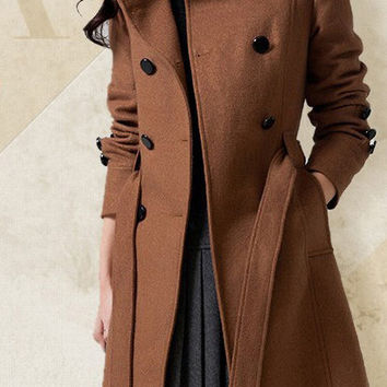 white blue brown red woolen coat women clothing dress high quality winter long coat red long wool women jacket