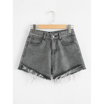 Raw Hem Denim Shorts Grey Plain