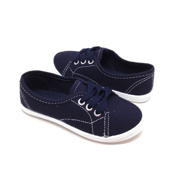 Navy Fabric Sneakers for Girls