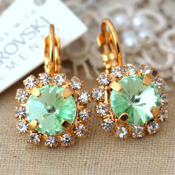 Mint green Droplet earrings, Swarovski rhinestone jewelry Bridal wedding earrings,bridesmaids gifts -  18 K Gold plated lever back earrings