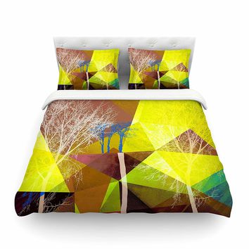 "KESS InHouse PS1034ACD03 Duvet Cover Pia Schneider ""P17"" Yellow Blue King Featherweight Duvet Cover, 104"" X 88"",,"
