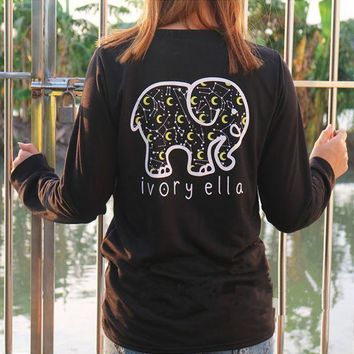 Women Fashion Casual Long Sleeve Cute Elephant Pattern Sweatshirt Ivory Ella Letters Printed Pocket Pullover Tops G