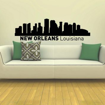 WALL DECAL VINYL STICKER NEW ORLEANS SKYLINE CITY SILHOUETTE DECOR SB62