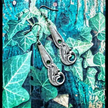 Handmade silver spoon and green crystal earrings