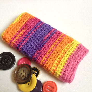 iPhone 5 Sock, Sunset IPhone 4s Case, Rainbow Phone Sleeve, Hand Crocheted, Multi coloured Cell Cozy