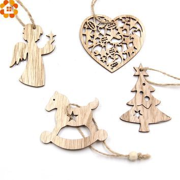 10PCS DIY Christmas Snowflakes&Deer&Tree Wooden Pendants Ornaments  Christmas Party Decorations Xmas Tree Ornaments Kids Gifts
