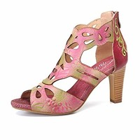 gracosy Heel Sandals, Women Leather Sandals Summer Dress Sandal Handmade Comfort Heel Wedding Party Shoes