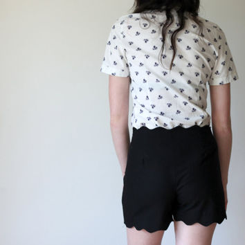 Black scallop lace edge shorts -  high waisted with vintage inspired design, simple elegant made in america - large