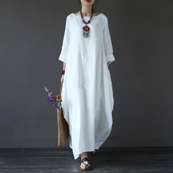 Cotton Linen Dresses For Women Loose Maxi Dress White Red Blue Long Sleeve Boho Long Dresses