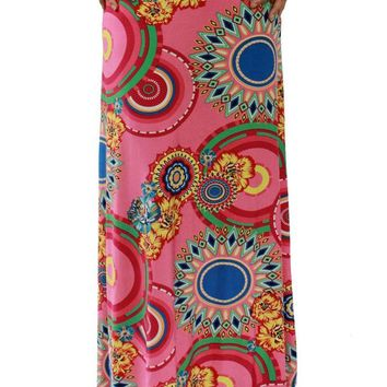 Vibrant African Print Pink Maxi Skirt