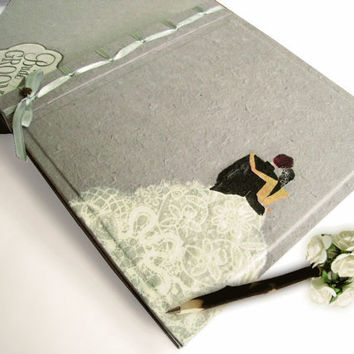Personalize Bride & Groom Grey Off White Pastel Pink Mulberry Paper Wedding Album