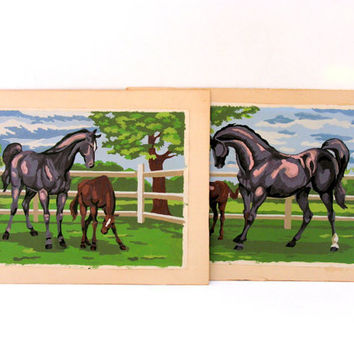 Vintage Paint By Number Horse Paintings Kentucky Thoroughbreds Pictures Pann Products Instant Collection