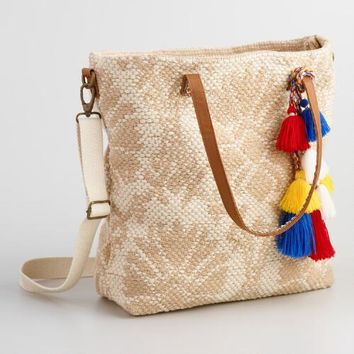 Beige Carpet Tote with Poms