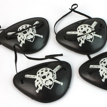 10p Kuso Plastic Pirate Eye Patch Black Party Favors Bag Skull Crossbone Halloween Birthday Party Costume Supplies Kids Toy