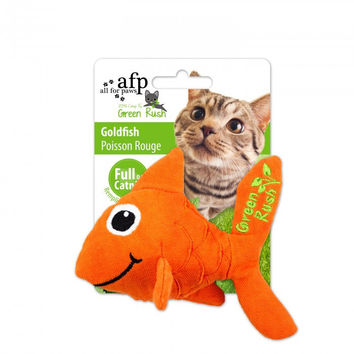 All For Paws Green Rush Canvas Goldfish w/Canadian Catnip Cat Toy