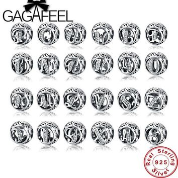 GAGAFEEL Letter Beads Fit Original Bracelet Alphabet Charms for Jewelry Making 2017 Spring Jewelry 925 Sterling Silver Accessory