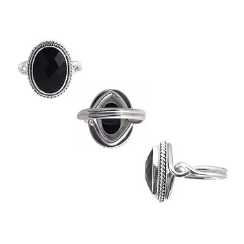 "SR-7964-ONX-7"" Sterling Silver Ring With Black Onyx"