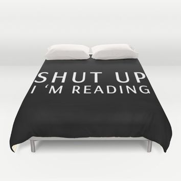 book sunday - shut up i m reading Duvet Cover by Xiari