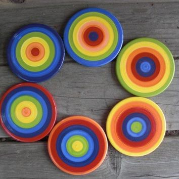 Set of Six Rainbow Stripes or Circles Ceramic Tile by InAGlaze