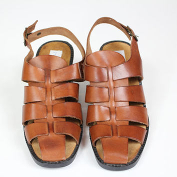Size 8 Italian made sling back leather huarache sandals/ huarache / size 8 / tan brown sandals / made in Italy / Vintage