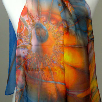 "Large Silk Chiffon Scarf - ""Olympus Mons"" design. Wearable mathematical art. Orange and blue statement scarf. Gifts for her."