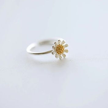 Daisy 925 Sterling Silver Leaf Ring
